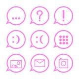 Iconos rosados de la comunicación en burbujas stock de ilustración