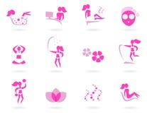Iconos rosados de la hembra del balneario, de la salud y del deporte. Fotos de archivo