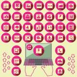 Iconos rosados de la oficina Imagen de archivo
