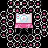 Iconos rosados de la oficina en círculo metálico Imagen de archivo
