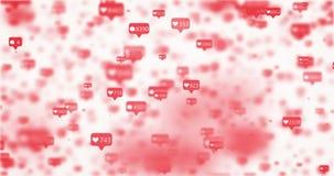 Iconos rosados del lazo movido como y de la charla almacen de metraje de vídeo