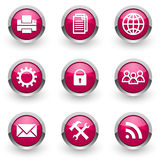 Iconos rosados del web fijados Foto de archivo