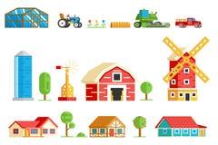 Iconos rurales de los árboles de la maquinaria de los edificios del pueblo de la granja Fotos de archivo