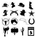 Iconos salvajes del oeste y de los vaqueros fijados ilustración del vector