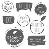 Iconos sanos de la comida, etiquetas Etiquetas orgánicas Elemen del producto natural Imagenes de archivo
