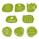 Iconos sanos de la comida, etiquetas Etiquetas orgánicas Elemen del producto natural Foto de archivo libre de regalías