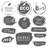Iconos sanos de la comida, etiquetas Etiquetas orgánicas Elemen del producto natural Fotos de archivo