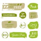 Iconos sanos de la comida, etiquetas Etiquetas orgánicas Elemen del producto natural Imagen de archivo libre de regalías