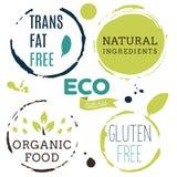 Iconos sanos de la comida, etiquetas Etiquetas orgánicas Elemen del producto natural Fotografía de archivo libre de regalías