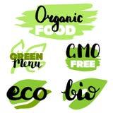 Iconos sanos de la comida, etiquetas Etiquetas orgánicas Elementos del producto natural Logotipo para el menú vegetariano del res stock de ilustración
