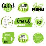 Iconos sanos de la comida, etiquetas Etiquetas orgánicas Elementos del producto natural Logotipo para el menú vegetariano del res libre illustration