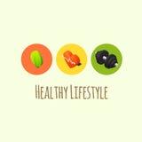 Iconos sanos de la forma de vida Imagenes de archivo