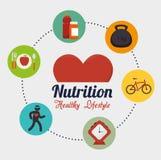 Iconos sanos de la forma de vida de la salud ilustración del vector