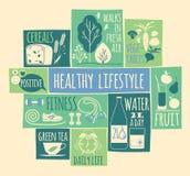 Iconos sanos de la forma de vida fijados Fotografía de archivo