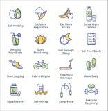 Iconos sanos de la forma de vida - serie del esquema Fotografía de archivo