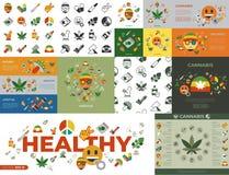 Iconos sanos de la medicina del cáñamo de Digitaces libre illustration