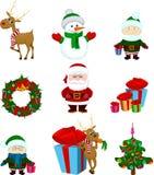 Iconos santa de la Navidad y amigos Foto de archivo libre de regalías