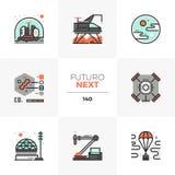 Iconos siguientes de Futuro de la exploración espacial ilustración del vector