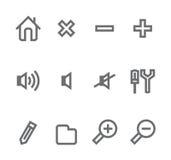 Iconos simples aislados en el blanco - conjunto 1 Imágenes de archivo libres de regalías