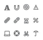 Iconos simples aislados en el blanco - conjunto 10 Fotografía de archivo