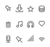 Iconos simples aislados en el blanco - conjunto 2 Imagenes de archivo