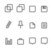 Iconos simples aislados en el blanco - conjunto 5 Imágenes de archivo libres de regalías