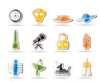 Iconos simples de la astronáutica y del espacio libre illustration