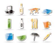 Iconos simples de la comida campestre y del día de fiesta Fotografía de archivo libre de regalías