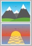 Iconos simples de la foto del vector con paisajes Foto de archivo libre de regalías
