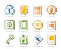 Iconos simples de la seguridad y del asunto Foto de archivo libre de regalías
