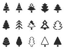 Iconos simples del árbol de pino fijados Imagenes de archivo