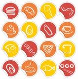 Iconos simples del alimento en etiquetas engomadas Fotografía de archivo libre de regalías