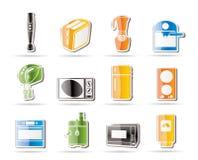 Iconos simples del cocina y caseros del equipo Imagen de archivo