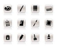Iconos simples del pintor, del gráfico y de la pintura Fotos de archivo libres de regalías