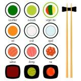 Iconos simples del sushi fijados Ilustración del vector Imagen de archivo