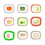 Iconos simples del sushi fijados Ilustración del vector Imágenes de archivo libres de regalías