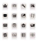 Iconos simples del teléfono móvil y del ordenador Fotos de archivo libres de regalías