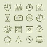 Iconos simples del tiempo y del calendario Foto de archivo