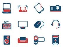Iconos simples del vector del material informático Fotografía de archivo