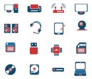 Iconos simples del vector del material informático Fotografía de archivo libre de regalías