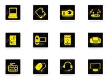 Iconos simples del vector del material informático Imagen de archivo libre de regalías
