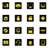 Iconos simples del vector del material informático Imágenes de archivo libres de regalías