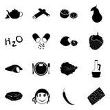 Iconos simples del vector del negro de los productos de dieta de la lechería fijados stock de ilustración