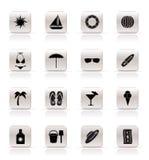 Iconos simples del verano y del día de fiesta Imagenes de archivo