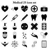 25 iconos simples médicos fijados Fotos de archivo libres de regalías