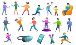 Iconos sistema, estilo de las gafas del juego de la historieta ilustración del vector