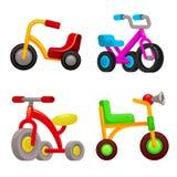 Iconos sistema, estilo del triciclo de la historieta ilustración del vector