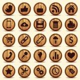 Iconos sociales, botones de madera de la textura fijados Imagen de archivo libre de regalías
