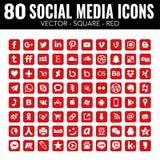 Iconos sociales cuadrados de los medios del vector rojo - para el diseño web y el diseño gráfico stock de ilustración