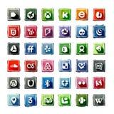 35 iconos sociales de la acuarela medios ilustración del vector